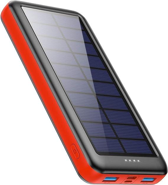 Ekrist Cargador Solar 26800mAh Power Bank de Carga Rápida con【Entradas de Tipo-C,Paneles Solares,Mirco USB】 Batería Externa Movil Solar Cargador ...