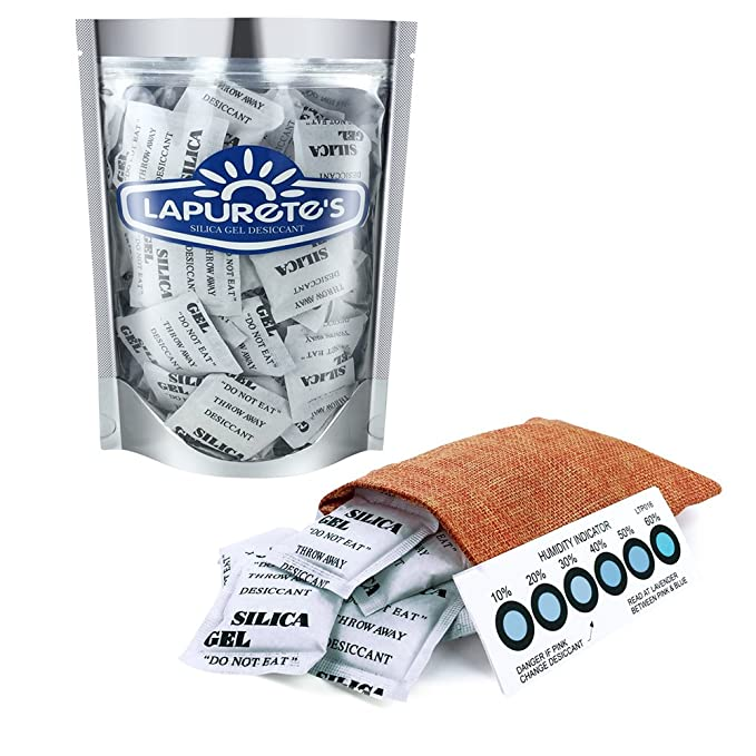 LAPURETES® Paquete de 10 Gramos De 25 Paquetes De Gel De Sílice Desecante Deshumidificadores (Regeneración)