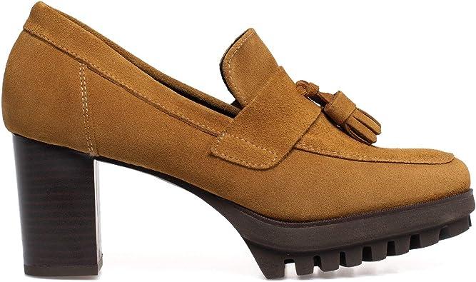 Trend Zapato Mocasín de Tacón Camel: Amazon.es: Zapatos y complementos