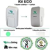 Sonnette sans fil sans pile EcoDring ECO + garantie 3 ans FR ? portée 80 mètres, résistant à l'eau IPX7 + stickers pour nom + phosphorescents, blanche, 25 mélodies, 1 bouton + 1 carillon