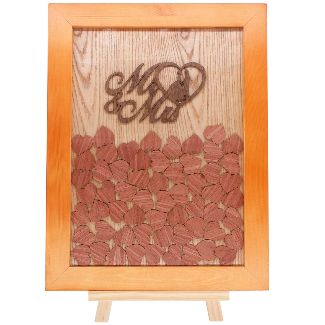 Creawoo Nature Wooden Frame Wedding Guest Book, Beautiful Wedding Decoration 96pcs Wooden Drop Heart Shape Ornaments With Wood Stand