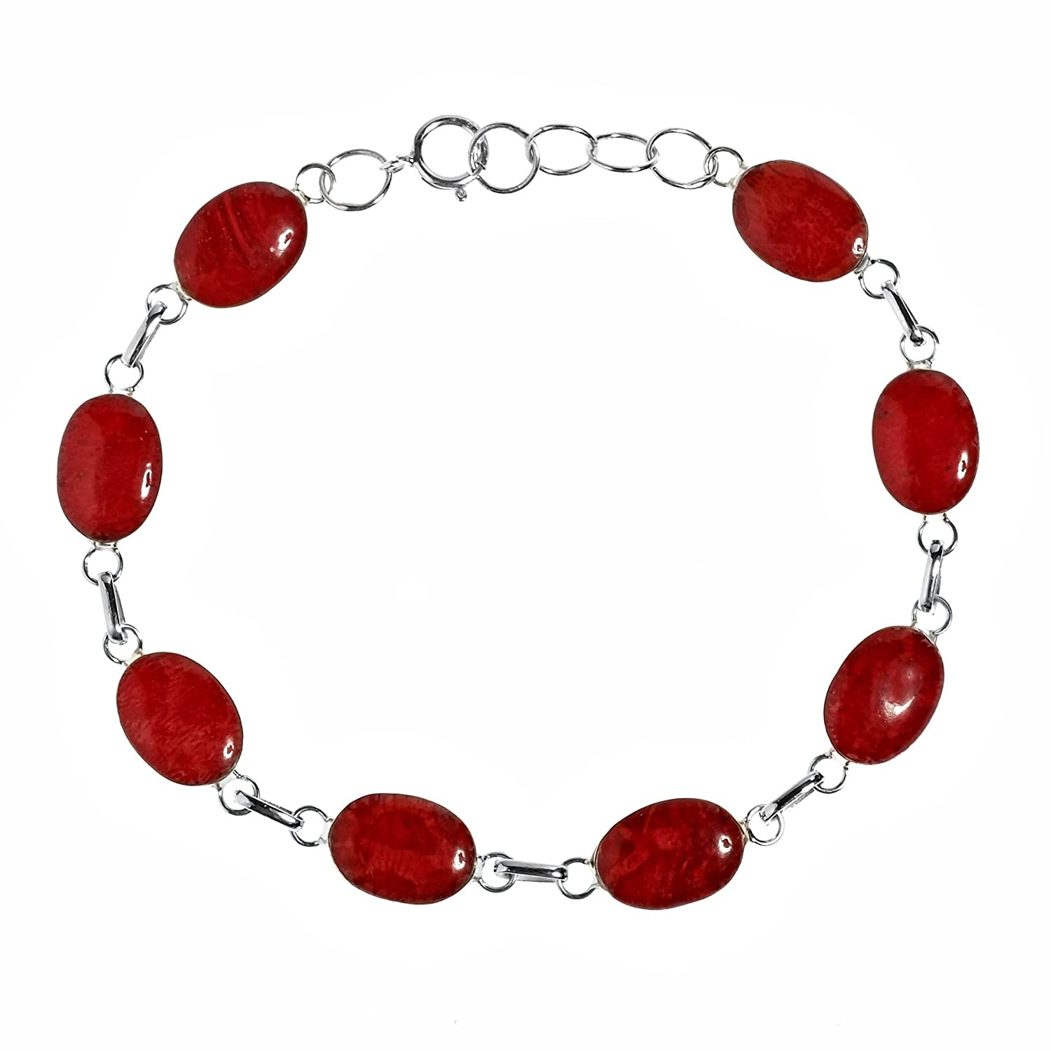 Strong Vocals Reconstructed Red Coral Link .925 Sterling Silver Stone Bracelet