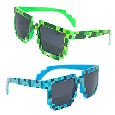 2 Pair Pixel Sunglasses – Blue & Green Great Video Game Party Favors & Gamer Birthday Party Supplies – Includes 1 Green & 1 Blue Glasses – Perfect As Gamer Party Decorations – Fun For Adults & Kids: Toys & Games