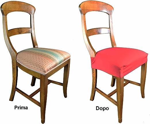 CASA TESSILE Antimacchia Coppia di Copri Seduta per Sedia Arancio