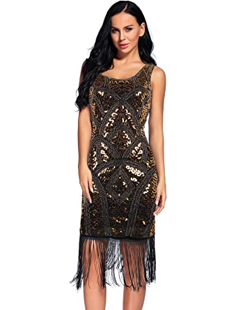 Flapper Girl Womens Scoop-Neck Geometric Short-Sleeve Midi Fitted Dress, Gold,