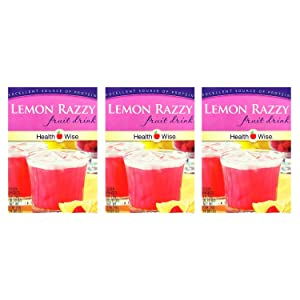 3 Box Value Pack (21 Servings) Healthwise - High Protein Diet Instant Cold Fruit Drink - Lemon Razzy - 15g Protein - Low Calorie - Low Carb - Low Fat - Gluten Free - Aspartame Free