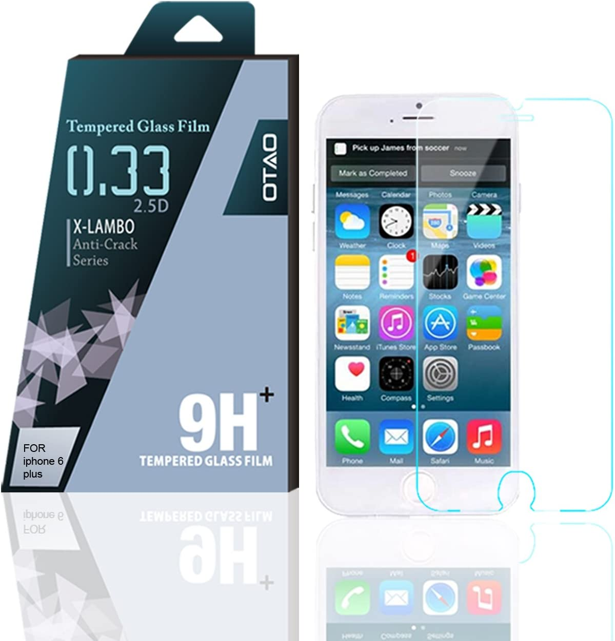 OTAO Tempered Glass Screen Protector For use with Apple Iphone 6 Plus Curved edge 2.5D Premium Clear 0.3ml X Lambo highest level protection 9H Pro