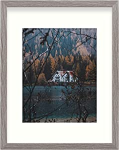 11x14 Rustic Grey Frame with Ivory Mat for 8x10 Photo - Sawtooth Hangers, Flexible Metal Tabs, Real Glass - Wall Mount, Smooth Finish, Barnwood Design (11x14, Grey)