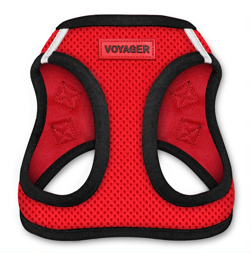 Voyager All Weather No Pull Step-in Mesh Dog Harness with Padded Vest, Best Pet Supplies, Extra Large, Red Base