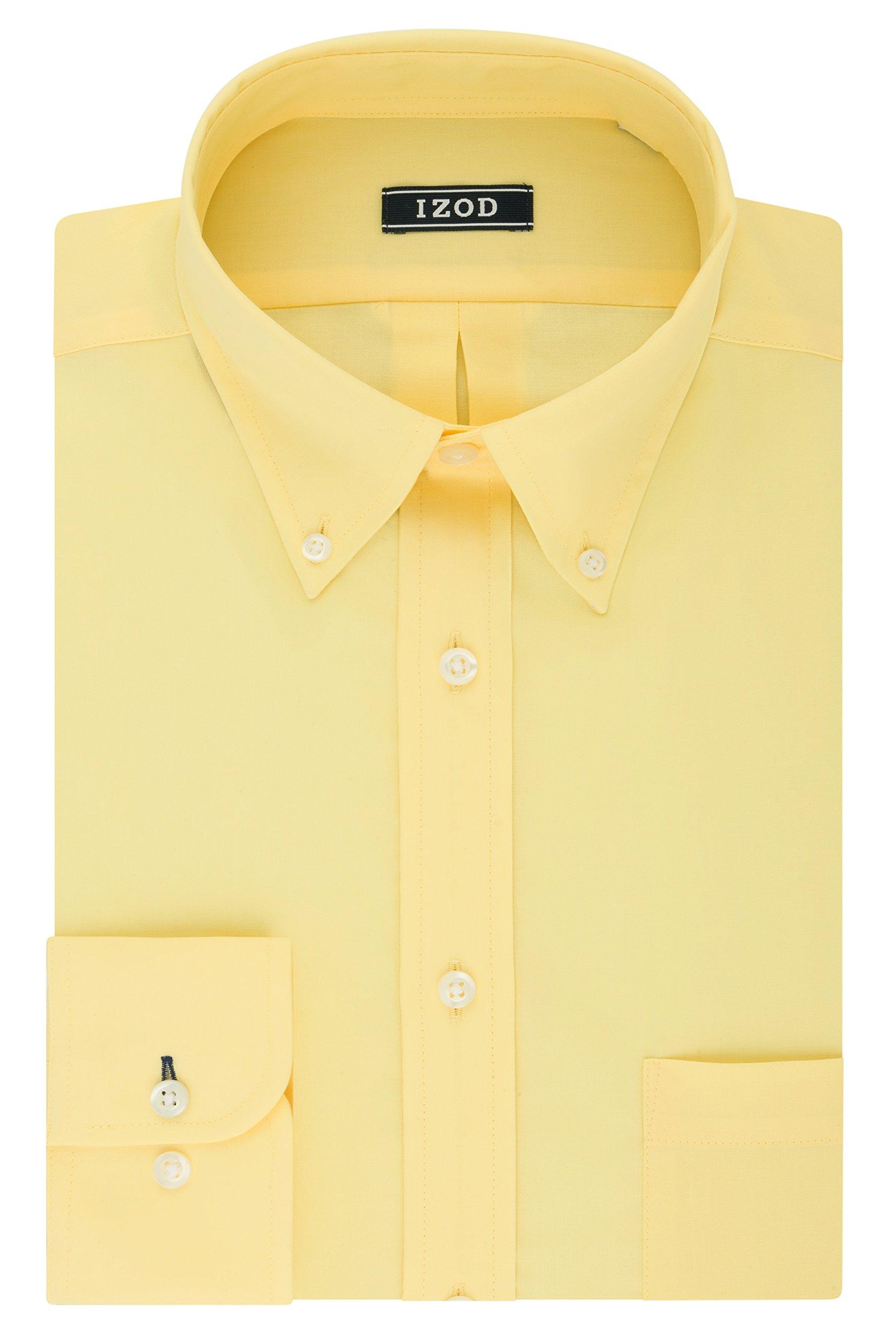 IZOD Men's Regular Fit Stretch Solid Buttondown Collar Dress Shirt, Yellow, 15''-15.5'' Neck 32''-33'' Sleeve