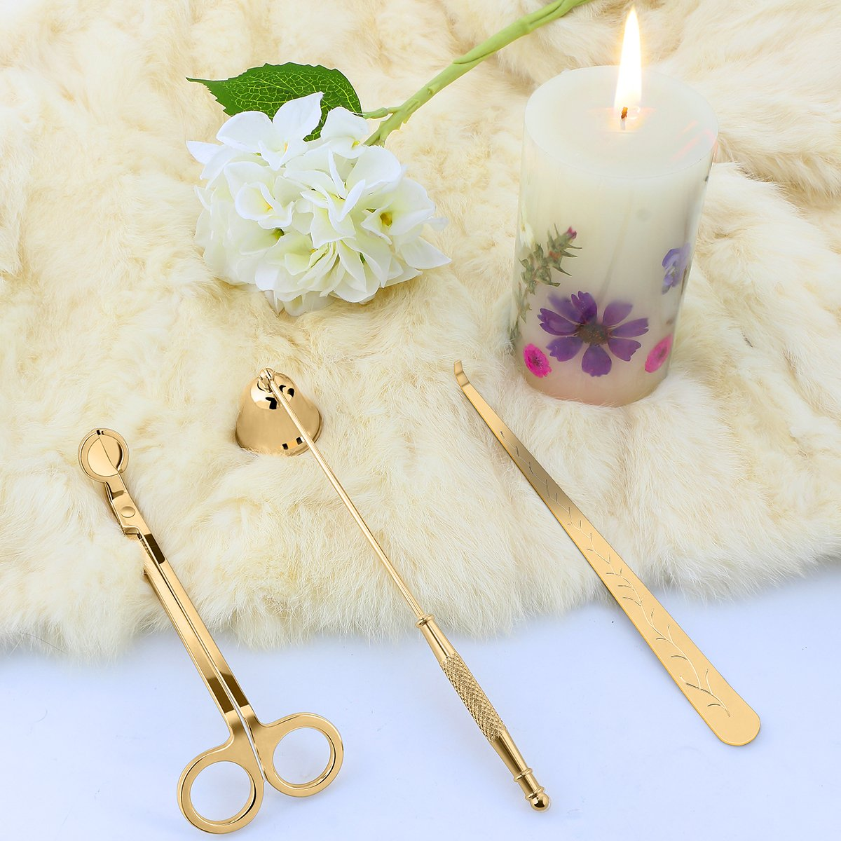 LOHOTEK Candle Snuffer, Candle Wick Trimmer & Wick Dipper Candle Accessories (Champange Gold) by LOHOTEK