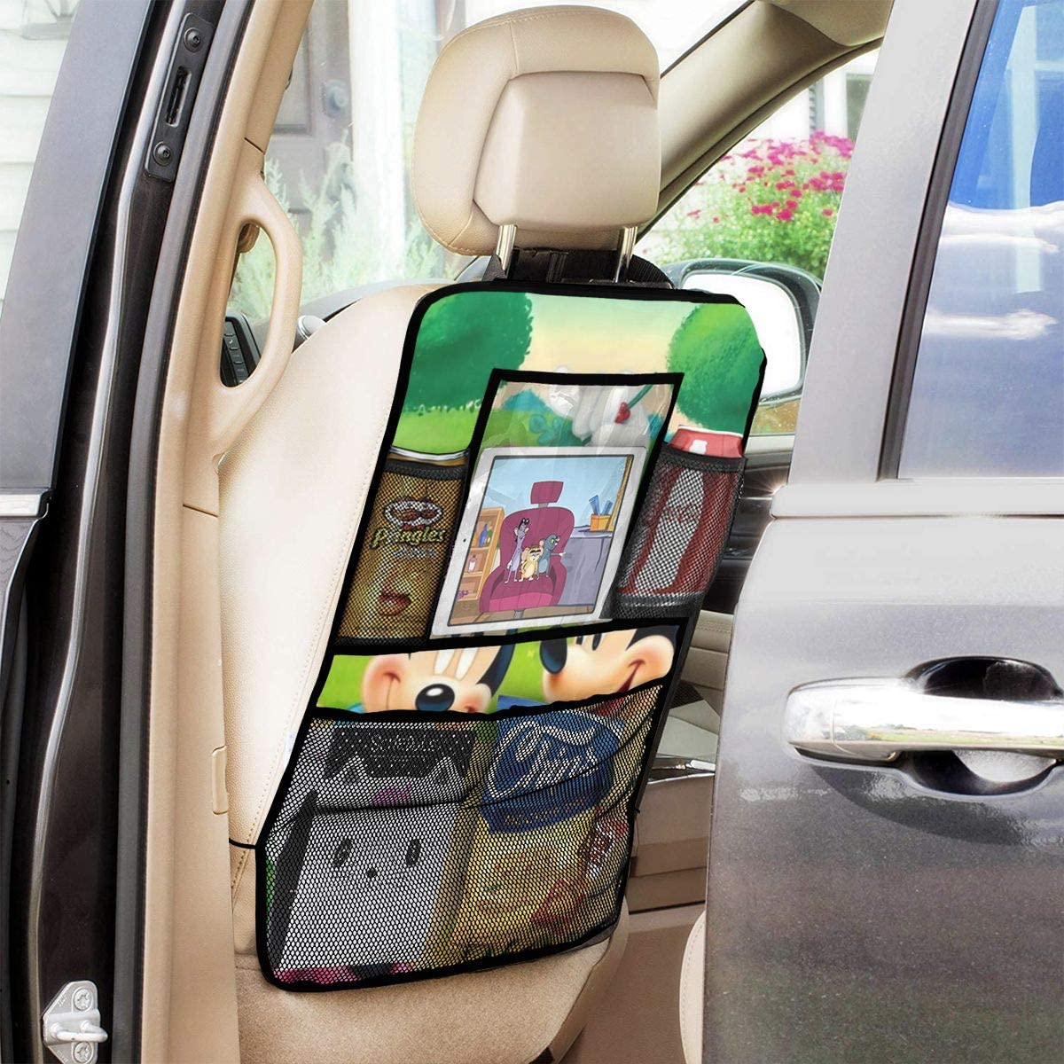 Backseat Car Organizer Kick Mats Mickey And Minnie Mouse Car Seat Back Protectors Vehicles Travel Accessories For Kids Toy Bottle Drink 2 Pack
