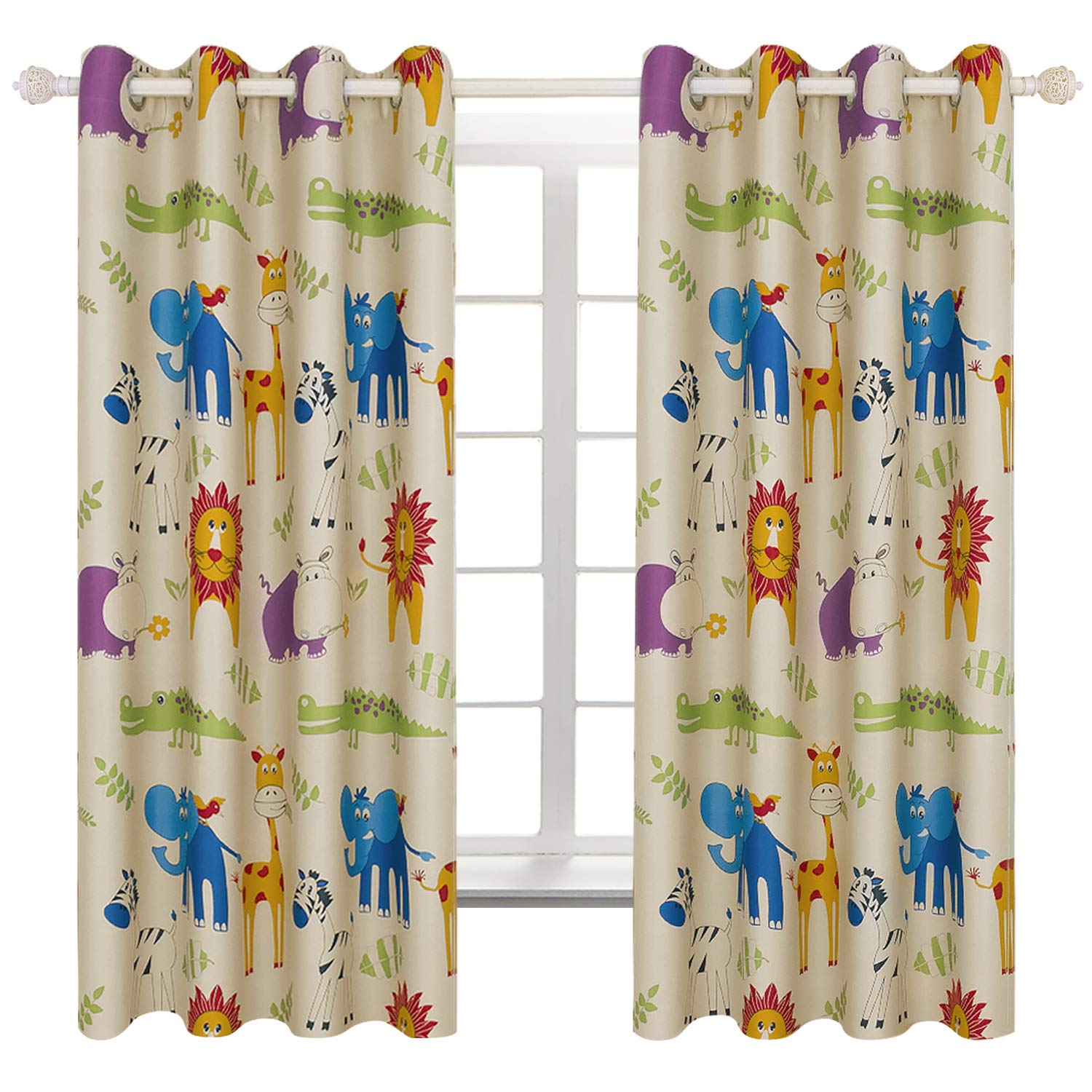 BGment Kids Blackout Curtains   Grommet Thermal Insulated Room Darkening  Printed Animal Zoo Patterns Nursery And Kids Bedroom Curtains, Set Of 2  Curtain ...