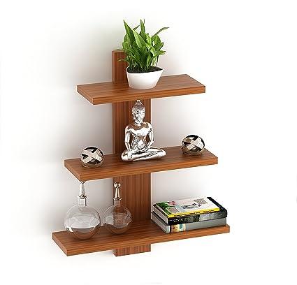 Bluewud Phelix Engineered Wood Wall Decor Book Shelf Wall Display Rack 3 Shelves Amazon In Electronics