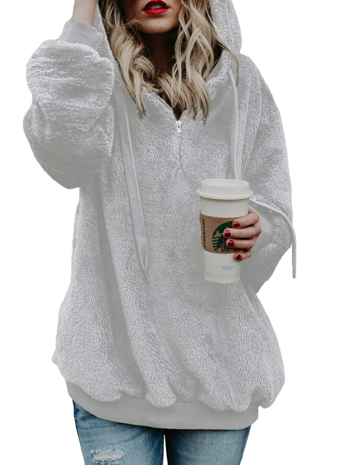 Hooded Sherpa Pullovers Hooded Sweatshirt for Women Long Sleeve Winter Fashion Fuzzy Solid Coat Jacket with Pockets 1/4 Zip White S
