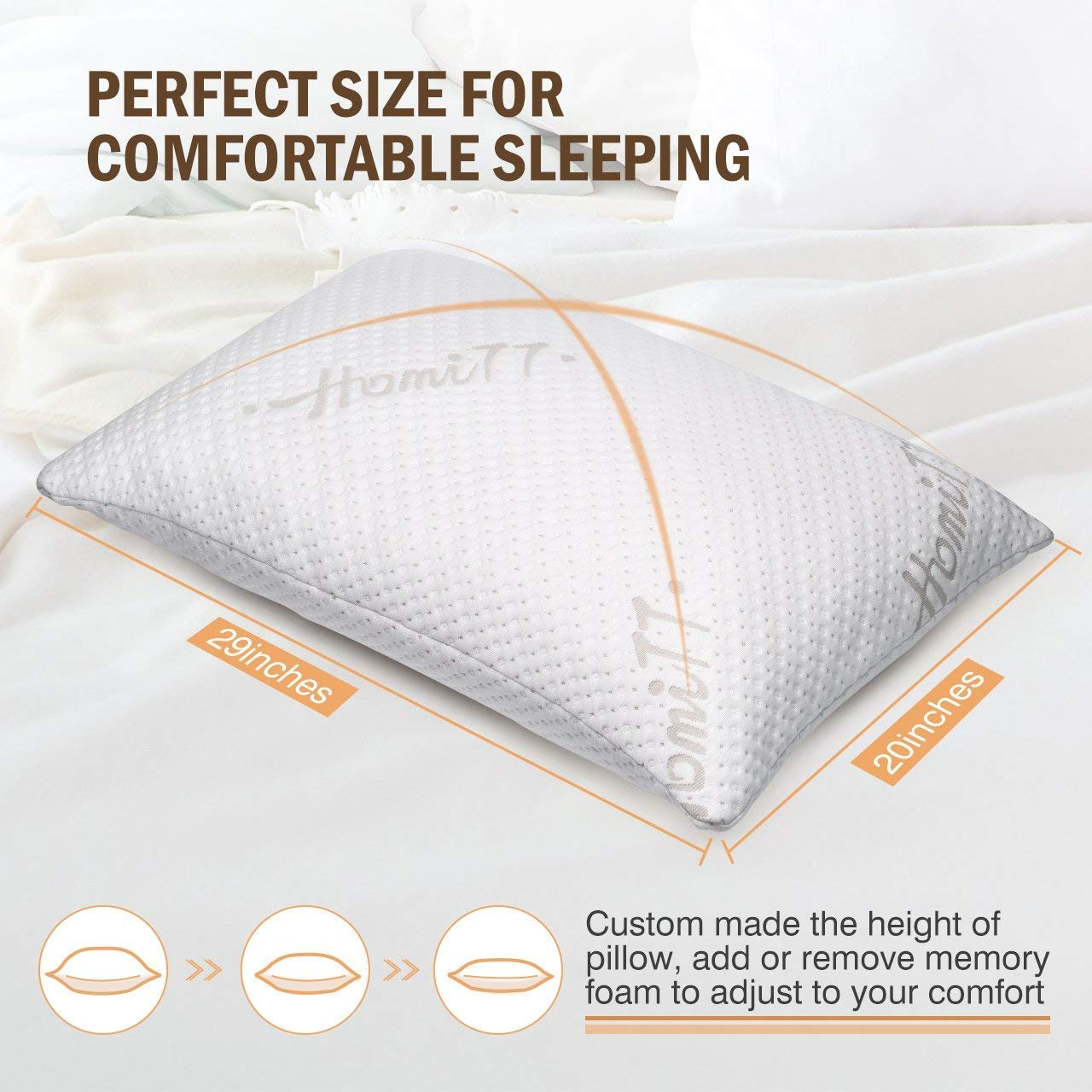 Homitt Shredded Memory Foam Pillow for Sleeping
