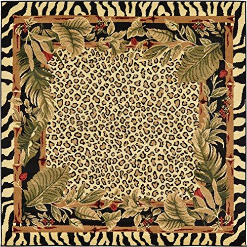Unique Loom Wildlife Collection Cheetah Botanical Border Animal Print Cream Square Rug (6' x 6')