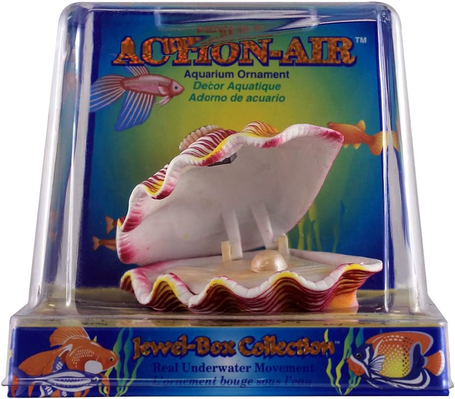 Penn Plax Aerating Action Ornament, Tropical Clam – Opens and Closes
