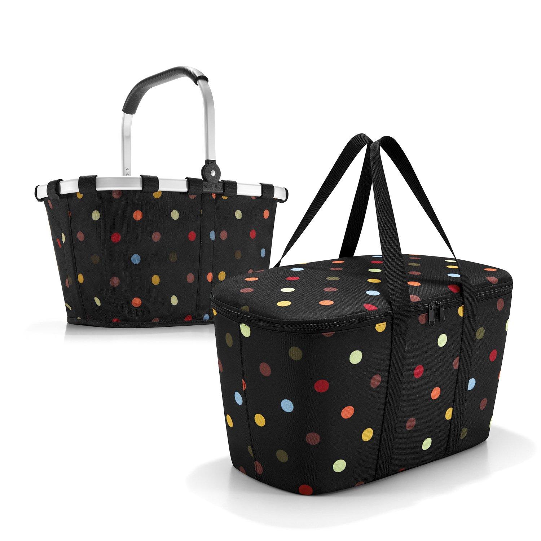 schönes reisenthel Einkaufsset 2tlg. bestehend aus reisenthel carrybag/Einkaufskorb und reisenthel coolerbag/Kühltasche in dem trendigen Design dots/bunte Punkte