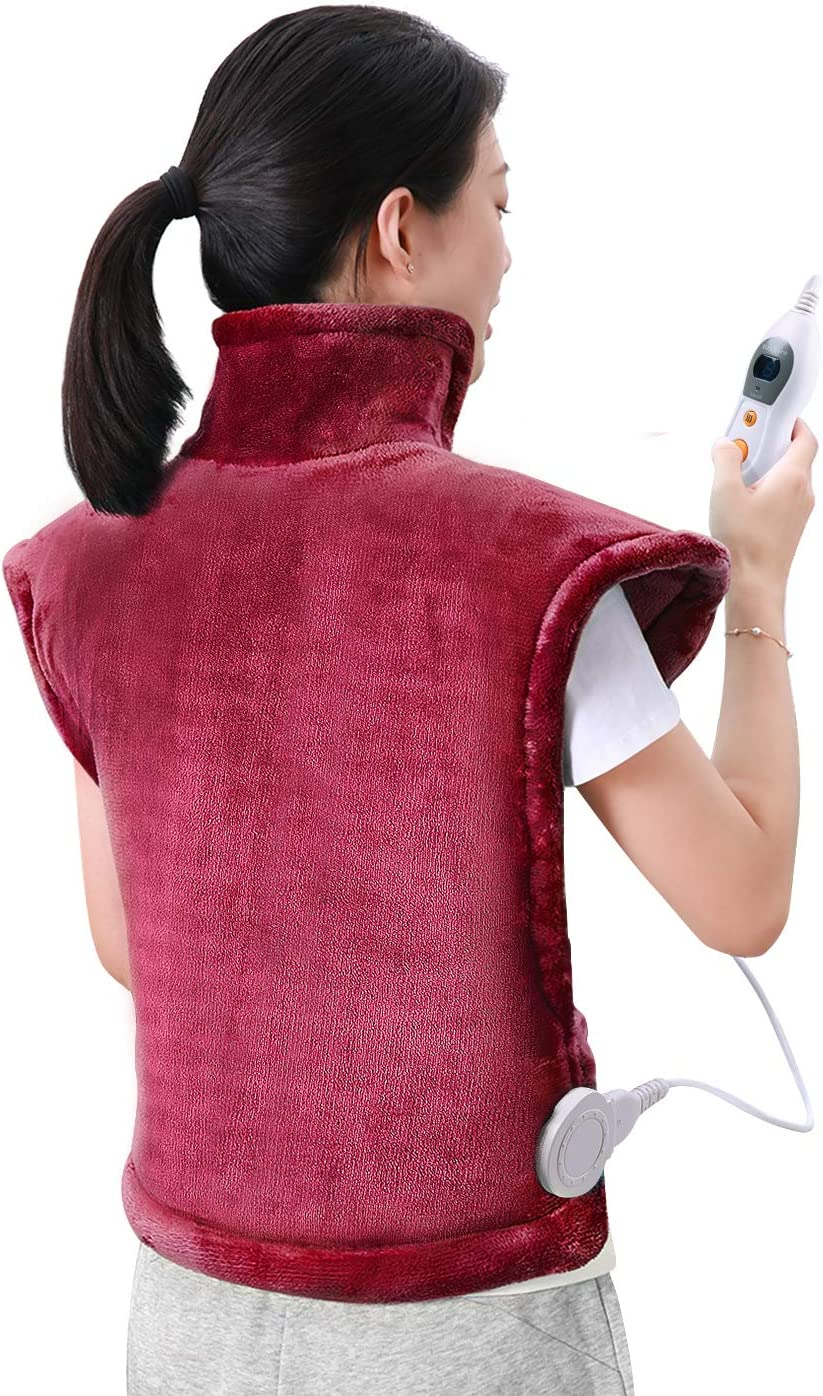 60 x 85cm Almohadilla Térmica Eléctrica para la Espalda, Hombros y Cuello Calentado con Tecnología de Calentamiento Rápido con 6 Niveles de Temperatura - Apagado Automático - Lavable a Máquina