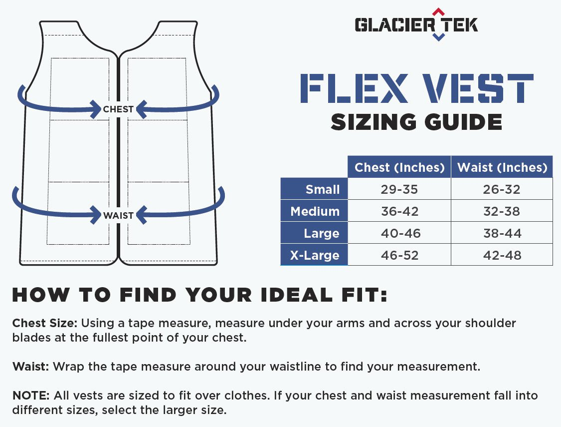 Flex Vest Cool Vest with Nontoxic Cooling Packs Black Medium (Chest Size 36-42) by Glacier Tek (Image #5)