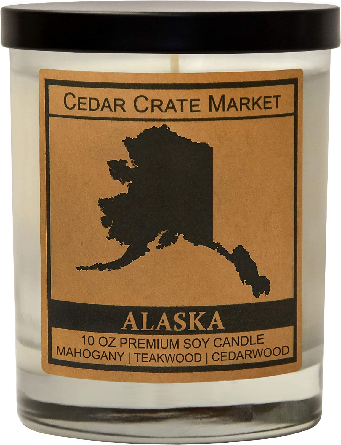 Alaska Kraft Label Scented Soy Candle, Mahogany, Teakwood, Cedarwood, 10 Oz. Glass Jar Candle, Made in The USA, Decorative Candles, Going Away Gifts for Friends, State Candles