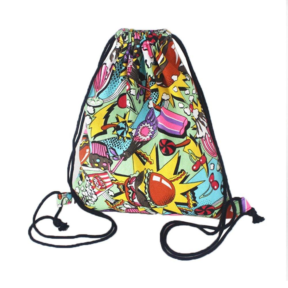 ユニセックス旅行スポーツ巾着バッグキャンバスバックパックハンバーガーパターン B01C8DAS30