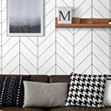 Peel and Stick Wallpaper Stripe Removable Wallpaper 17.71 in X 118 in Black/White Self Adhesive Wallpaper Modern Durable Line