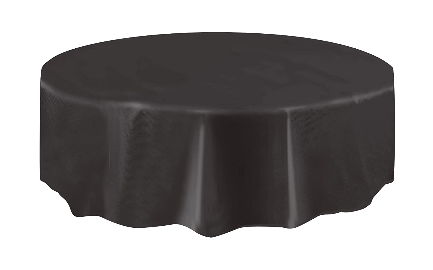 Unique Party 50033 - Round Black Plastic Tablecloth, 7ft