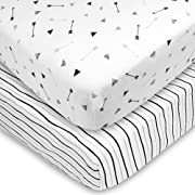 American Baby Company 2 Pack Printed 100% Natural Cotton Jersey Knit Fitted Pack N Play Playard Sheet, Silver Black Arrow, Soft Breathable, for Boys and Girls