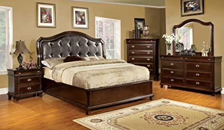 High Quality 5 Pc Arden Transitional Style Brown Cherry Finish Wood Queen Bedroom Set  With Tufted Leather Like