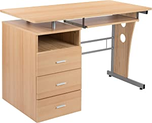 Flash Furniture Maple Desk with Three Drawer Pedestal and Pull-Out Keyboard Tray