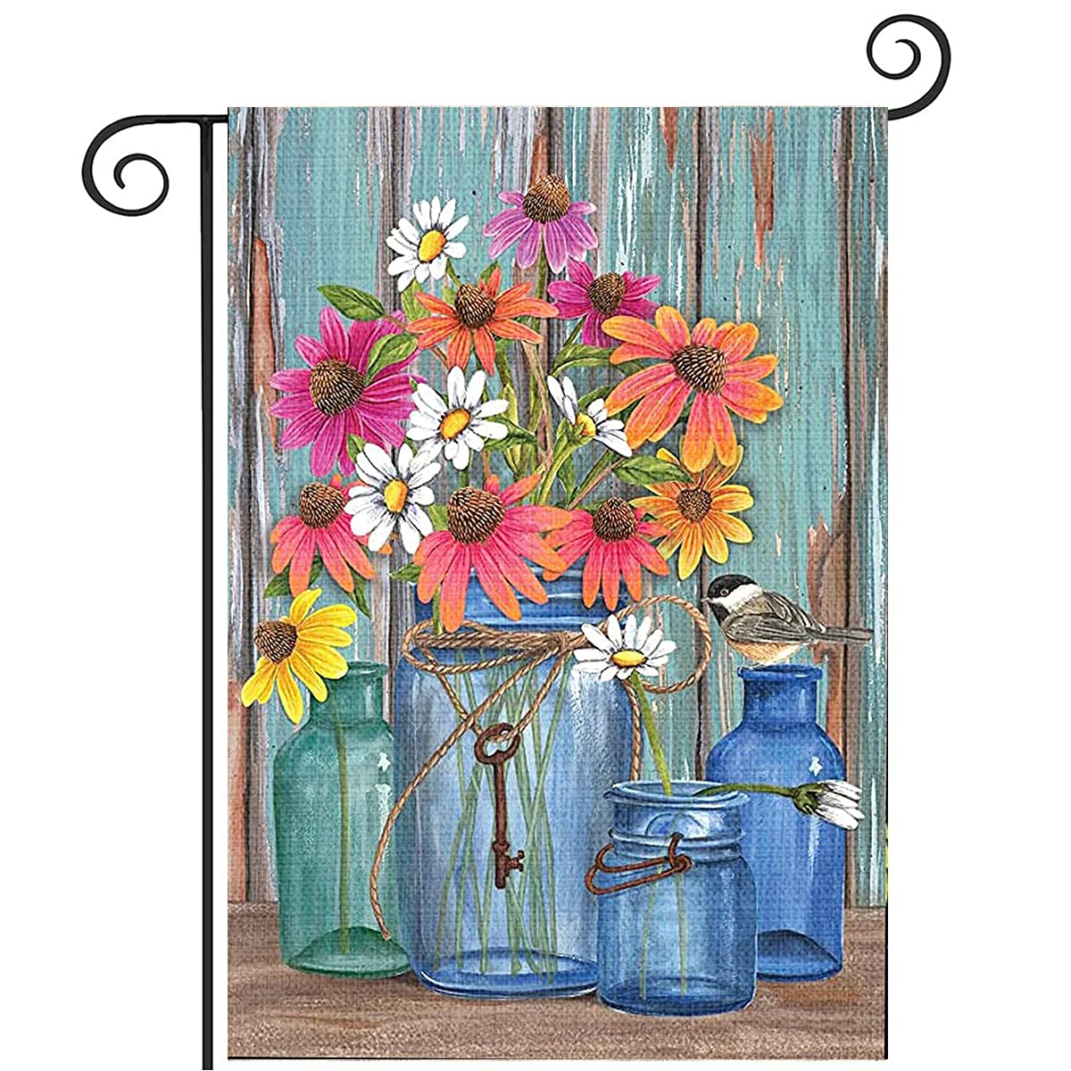 PINEPOEM Summer Garden Flag 12 x 18 Inch, Double Sided Vertical Flags for Yard Outdoor Decration, Garden Flag With Birds & Flower, Flags Decorative House Flags, Small Garden Flags for Outside & Flower, Flags Decorative House Flags, Small Garden Flags for Outside