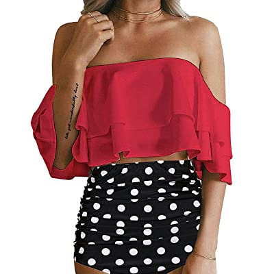 PASLTER Womens Two Piece Off Shoulder Ruffled Flounce Swimsuits High Waisted Bikini Sets: Clothing