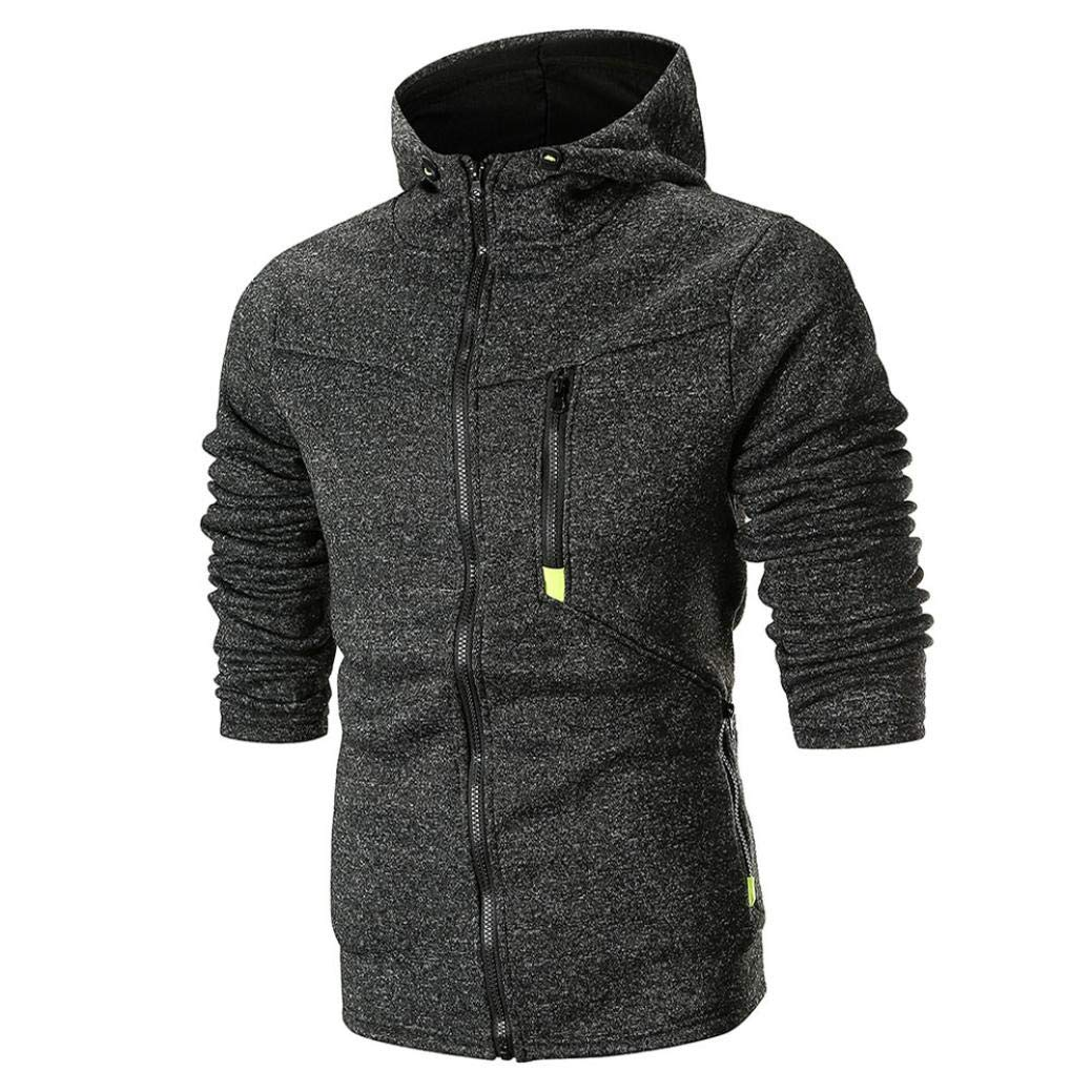 Corriee Men Hoodies Mens Fashion Full Zip Long Sleeve Solid Hooded Sport Sweatshirt Casual Daily Cotton Outwear Blouse