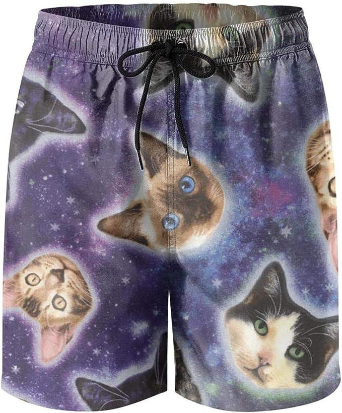 Cute Cat Baby Womens Sport Beach Swim Shorts Board Shorts Swimsuit with Mesh Lining