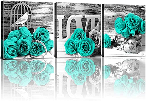 Teal Flower Decor Wall Art for Living Room Bathroom Bedroom Black and White  Mint Green Rose Flowers Floral Prints Pictures Canvas Art Home Decorations  ...