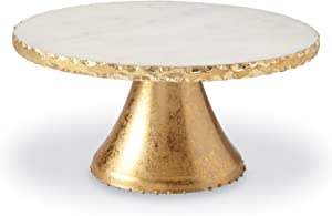 Mud Pie Marble Pedestal Cake Serving Stand, Gold