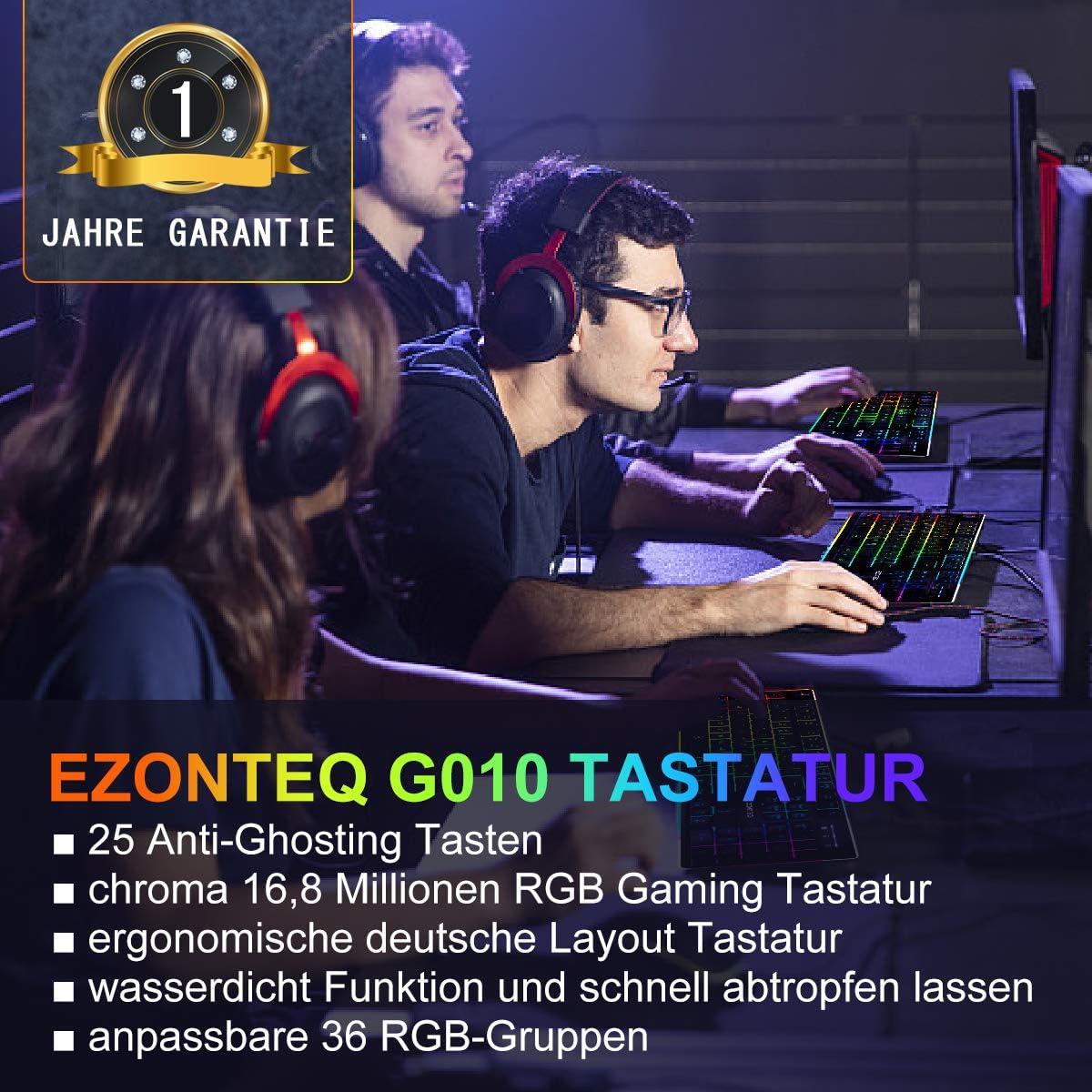 Bussiness G010 Ergonomische RGB Gaming Tastatur wasserdicht LED Keyboard Tastenkappen schwarz Gaming-Tastaturen f/ür PC 25 Tasten Anti-Ghosting QWERTZ, Deutsches Layout Gaming 8 Farben Beleuchtung