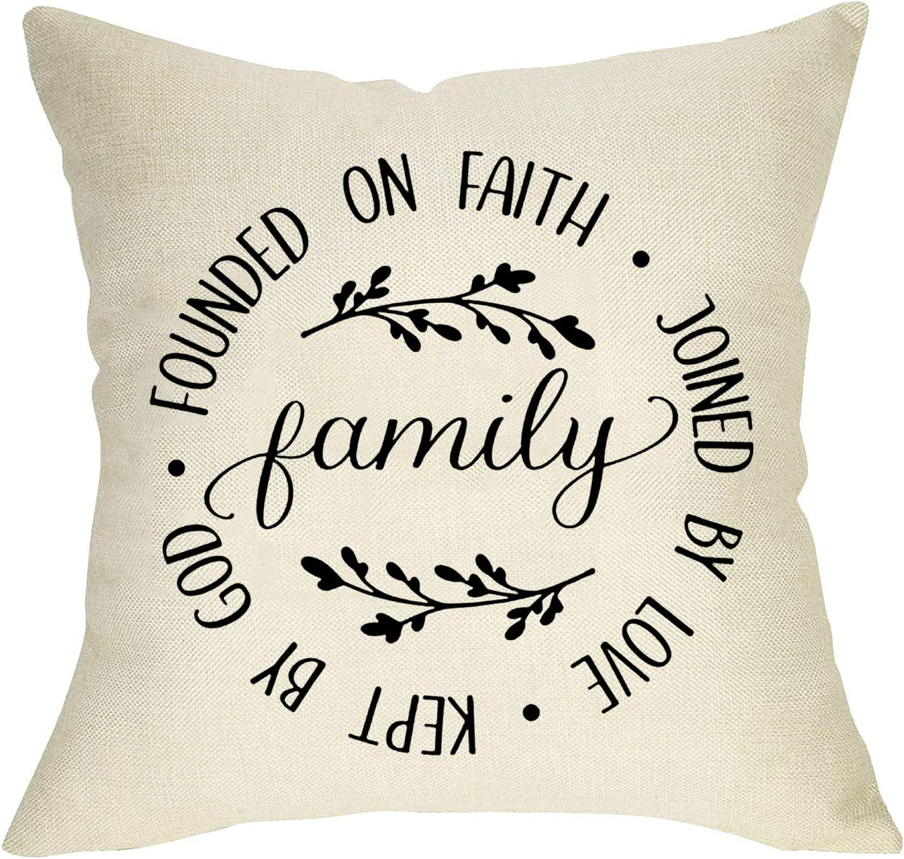 FBCOO Family Quotes Decorative Throw Pillow Cover Founded on Faith Joined by Love Kept by God, Rustic Farmhouse Cushion Case Olive Branch Decorations Home Square Pillowcase Decor 18 x 18 Cotton Linen