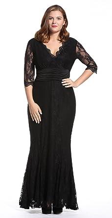 7ba30ed0da3 Dilanni Elegant Lace Half Sleeve Black Formal Floor Length Evening Dress   Amazon.co.uk  Clothing