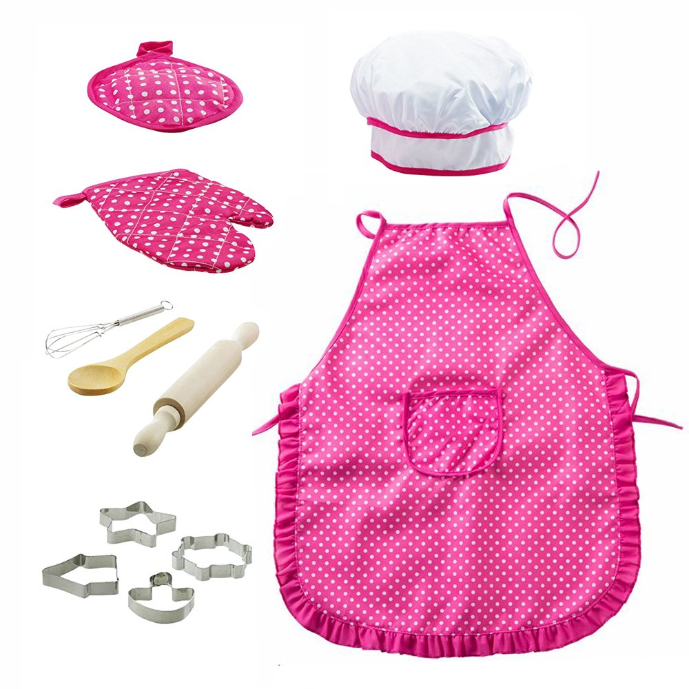 OMEYA Chef Set Kids, Children Cooking Baking Kits Includes Kids Apron, Chef Hat, Cookie Cutters Girls Boys Role Play Great Gift Kids Age 3+ (Pink,11PCS) OMEYA.INC