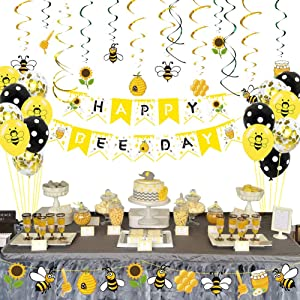 packingmaster 88pcs Bee Party Supplies with Happy Bee Day Banners Hanging Swirls Glitter Bee Balloons for Bee Birthday Party Bee Baby Shower Party Decorations