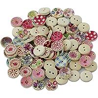 Zerama 100 Piezas 2 Agujeros Colorido Floral Retro
