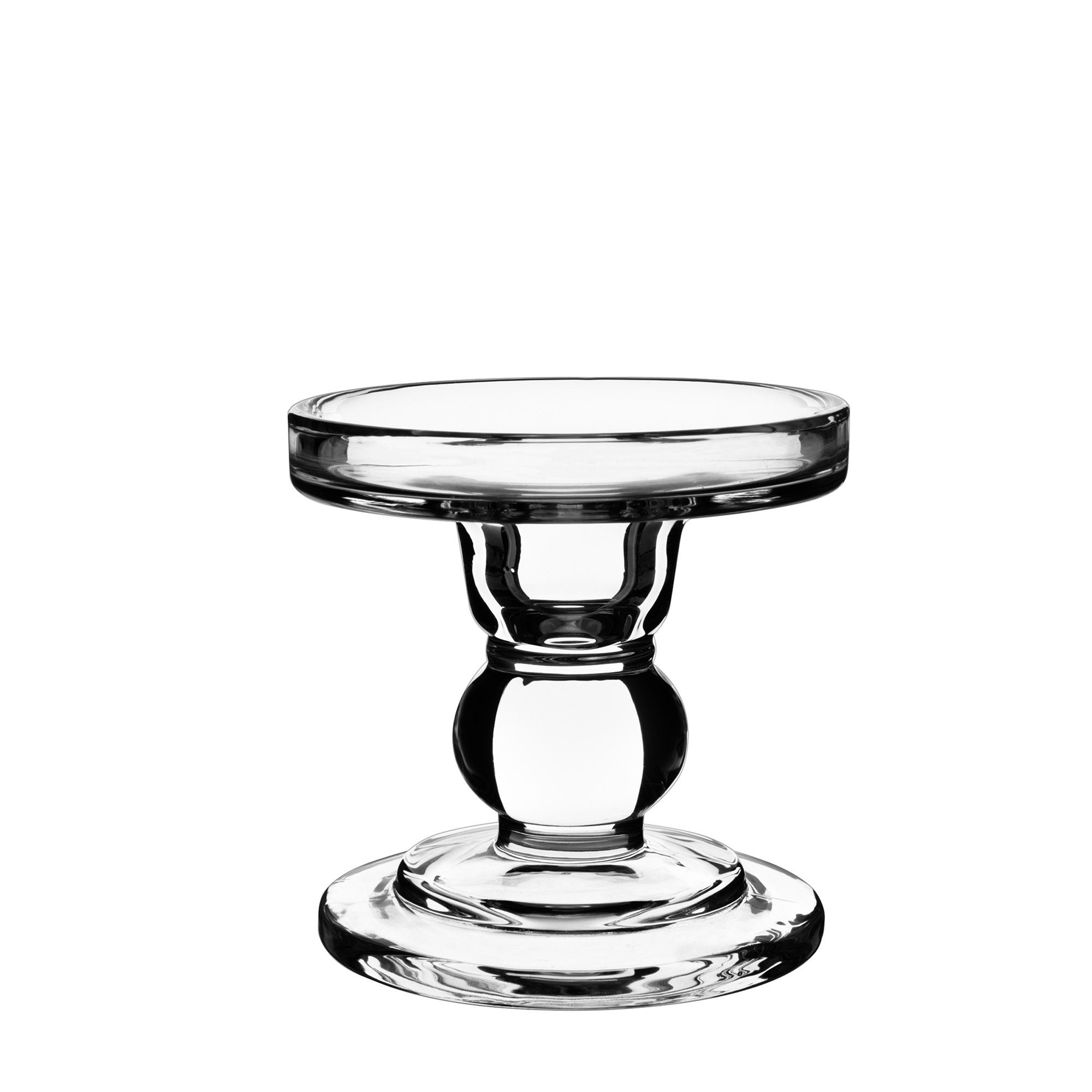 CYS EXCEL Clear Glass Pillar Candle Holder - Taper Candle Stand - Dual Use for Pillar or Taper Candlesticks-3.5'' H- Pack of 2 PCS