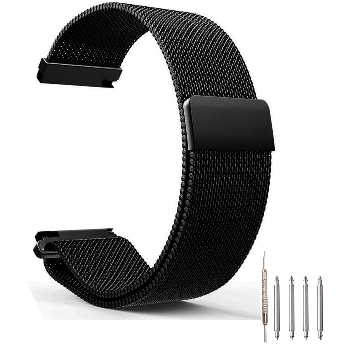Top Plaza Fully Magnetic Closure Clasp Mesh Loop Milanese Stainless Steel Metal Replacement Band Bracelet Strap for Men's Women's Watch, Black 20MM