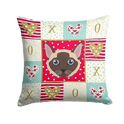 Caroline's Treasures CK5173PW1414 Tonkinese Cat Love Fabric Decorative Pillow, 14Hx14W, Multicolor : Garden & Outdoor