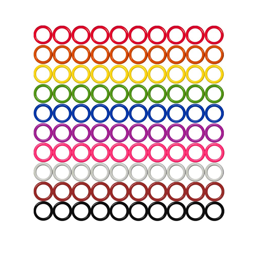 Colorful Iron O-Rings & Stitch Ring Markers for Knitting/Crochet/etc, (Available in 14 Sizes, Includes 10 Colors, for Knitting/Crochet/etc (Needles Stoppers, 50pcs) Shenzhen Zhonghuan Co. Ltd.