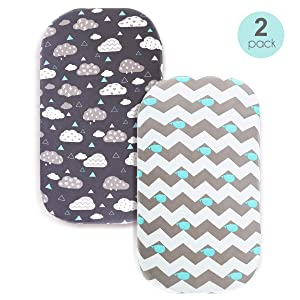 COSMOPLUS Bassinet Sheet Set -2 Pack Stretch Fitted Craddle Fitted Sheets for Bassinet Pads/Mattress, for Boys Girls,Unisex,Ultra Soft,Whale/Cloud