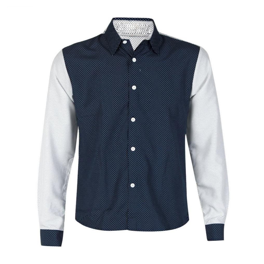 Dressffe Fashion Mens Luxury Long Sleeve Shirt Casual Slim Fit Stylish Blouse Shirts Tops (XL, Navy)